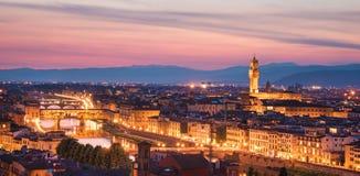 Een fabelachtig panorama van Florence van Michelangelo Square i stock afbeelding