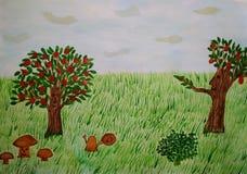 Een fabelachtige achtergrond magische boslevende plant vector illustratie