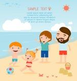 Een familie bij het strand Familie op het strand Stock Illustratie