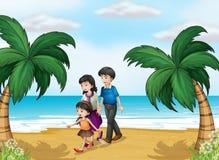Een familie die bij het strand lopen vector illustratie