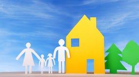 Een Familie met Huis en Bomen Royalty-vrije Stock Afbeeldingen