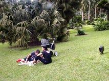Een familie van toerist zit en rust op het gras Royalty-vrije Stock Foto's