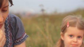 Een familie van twee mensen, mamma en een kind op een picknick tijdens het weekend stock footage