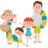 Een familievakantie op beachfront Royalty-vrije Stock Afbeelding