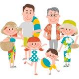 Een familievakantie op beachfront Stock Foto's