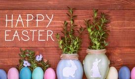 Een feestelijke Pasen-samenstelling Mening van hierboven concept de lente en het feest van de Pascha Royalty-vrije Stock Foto