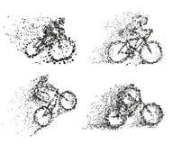 Een fietser berijdt een uiteenlopend silhouet van het fietsdeeltje vector illustratie