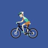 Een fietser die een bergfiets, Vectorillustratie berijden Stock Foto
