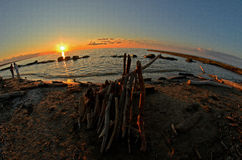 Een fisheyemening van het strand dichtbij Cleveland Ohio stock foto