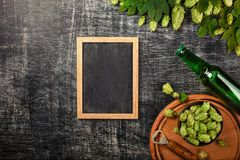 Een fles bier met een bos van verse groene hop en opener op een zwart gekrast schoolbord stock foto