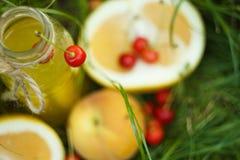 Een fles eigengemaakt limonadesap met kers en citrusvruchten ligt in openlucht op het gras Picknick op aard in het park tegen stock foto's