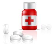 Een fles van pijnstillerdrugs (pillen) vector illustratie