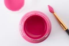 Een fles van roze verf Stock Afbeelding