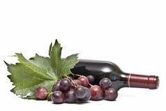 Een fles van wijn en sommige druiven. Stock Afbeeldingen