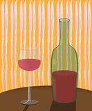 Een fles wijn en een glas op de lijst Royalty-vrije Stock Fotografie