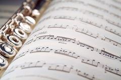 Een fluit rust binnen een muzikale score Royalty-vrije Stock Foto's