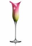 Een fluit van champagne/calla lelie Stock Afbeeldingen