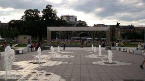 Een fontein in Brno stock foto's