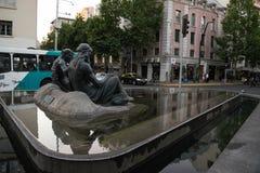 Een fontein in het centrum van de stad van Santiago, Chili stock afbeeldingen
