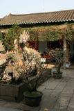 Een fontein met een gebeeldhouwde draak wordt verfraaid werd geïnstalleerd in de binnenplaats van een boeddhistische tempel in Ho Stock Fotografie