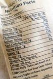 De feiten van de voeding voor gezonde snack Stock Afbeeldingen