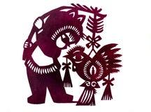 Antiquiteit papercut - het medio festival van de de herfstlantaarn stock foto's