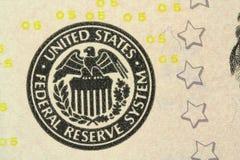 Een fragment van de Amerikaanse rekeningen van vijf dollarsachtergrond Royalty-vrije Stock Foto's