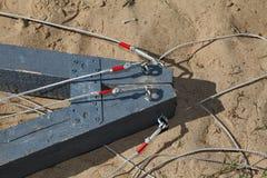 Een fragment van de bouw van het techniekontwerp (groepstrainer) voor sportenspelen en team de bouw opleiding Stock Foto's