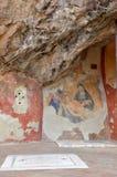 Een fresko op buiten het Benedictineklooster van Subiaco royalty-vrije stock fotografie