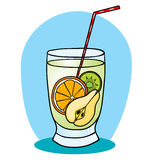 Een fruit smoothie met diverse vruchten vector illustratie