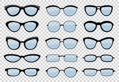 Een geïsoleerde reeks glazen Vectorglazen modelpictogrammen Zonnebril, glazen, op witte achtergrond worden geïsoleerd die Silhoue royalty-vrije illustratie