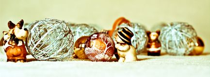 Een geanimeerde geboorte van Christusscène, allen op het werk voor Kerstmis Stock Fotografie