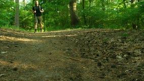 Een gebaarde mens met een rugzak loopt langs de bosweg De man beweegt zich aan de camera Tennisschoenenclose-up stock video