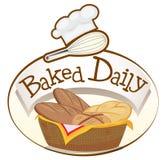 Een gebakken dagelijks etiket met een mand broden vector illustratie
