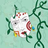 Een gebarsten masker in lianas Royalty-vrije Stock Afbeelding