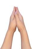 Een gebedpositie van vrouwelijke handen Royalty-vrije Stock Foto's