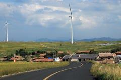 Een gebied van windturbines Stock Fotografie