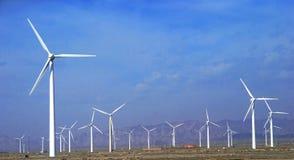 een gebied van windturbines Royalty-vrije Stock Foto's