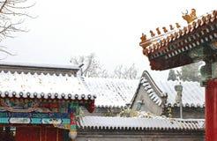 Een gebouw in de verboden stad in sneeuw Stock Foto