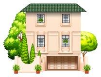 Een gebouw met bomen vector illustratie