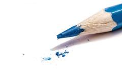 Een Gebroken Blauw Potloodpunt Royalty-vrije Stock Afbeeldingen