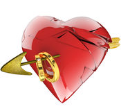 Een gebroken hart, een pijl en trouwringen Stock Fotografie