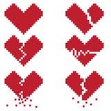 Een gebroken hart is een reeks van zes pixelpictogrammen met gebroken harten Royalty-vrije Stock Foto's