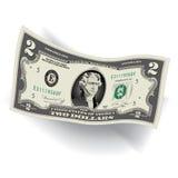 Een Gedetailleerde, Gestileerde Tekening van een 2 Dollarrekening stock illustratie