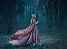 Een geheimzinnig blondemeisje in een lange roze kleding met een trein en een regenjas die in de wind fladdert De tovenaarsbladere stock foto