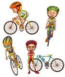 Een gekleurde schets van de fietsers Stock Foto