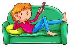 Een gekleurde schets van een luie jongen Stock Afbeeldingen