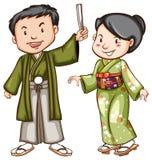 Een gekleurde schets van een paar die een Aziatische kleding dragen Stock Foto's