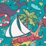 Een gekleurde vectortextuur met de zomer en overzeese krabbels Stock Fotografie
