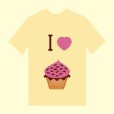 Een gele t-shirt met beeld van croissantdoughnut en cupcake Royalty-vrije Stock Foto's